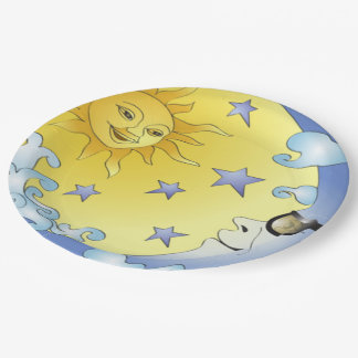 "9"" Custom Paper Plates/Sun, Moon and Stars Paper Plate"