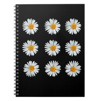 9 daisies on black spiral notebook