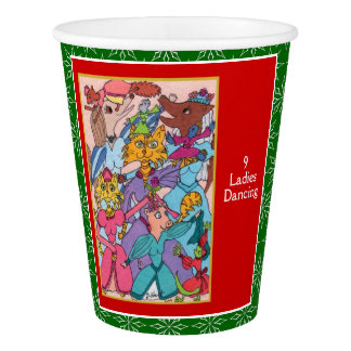 9 Ladies Dancing Cute Animals 12 Days of Christmas Paper Cup