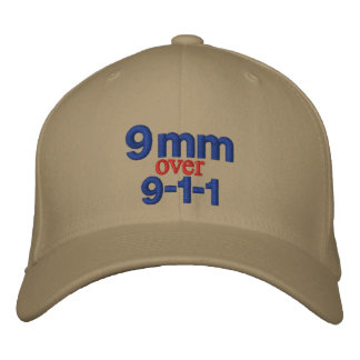 9 mm over 9-1-1 embroidered baseball caps