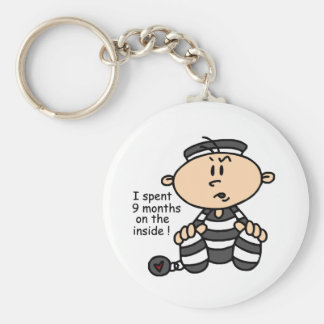 9 Months On The Inside Baby Prisoner Basic Round Button Key Ring