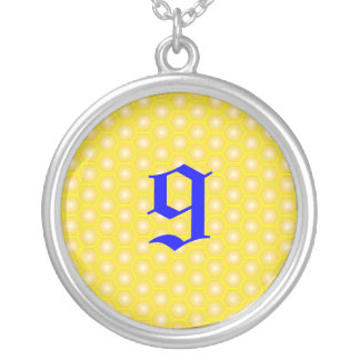 9, NUMBER, LETTER ON HONEYCOMB ROUND PENDANT NECKLACE