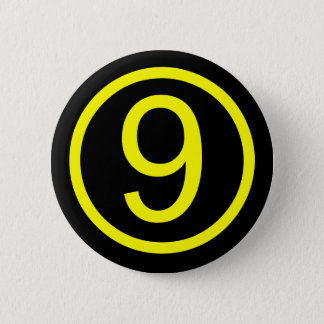 9 - number nine 6 cm round badge