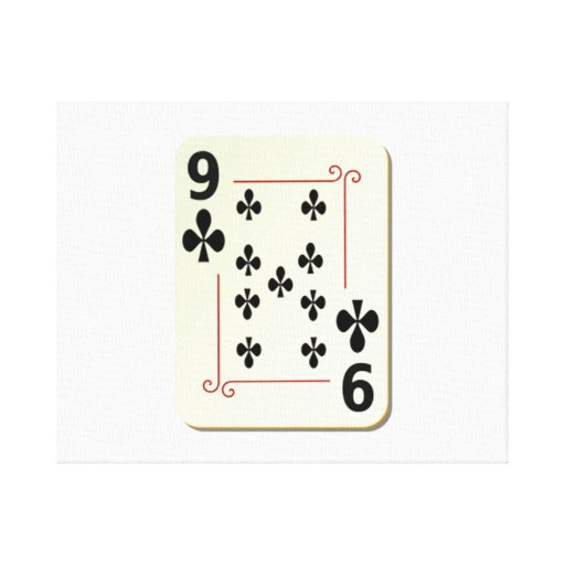 9 of Clubs Playing Card Canvas Print
