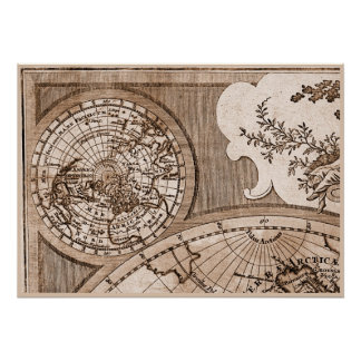 9 Panel Sepia Version de L Isle World Map Frame 1 Posters