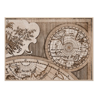 9 Panel Sepia Version de L Isle World Map Frame 3 Posters