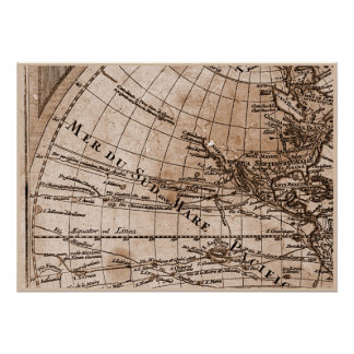 9 Panel Sepia Version de L Isle World Map Frame 4 Posters