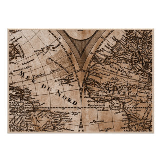 9 Panel Sepia Version de L Isle World Map Frame 5 Print
