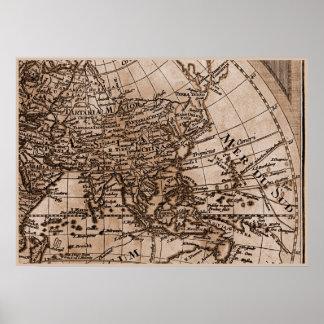 9 Panel Sepia Version de L Isle World Map Frame 6 Poster