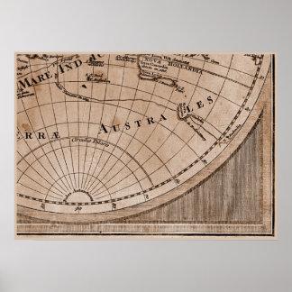 9 Panel Sepia Version de L Isle World Map Frame 9 Poster