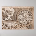 9 Panel Sepia Version de L'Isle World Map Frame 3 Poster