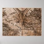9 Panel Sepia Version de L'Isle World Map Frame 5 Poster