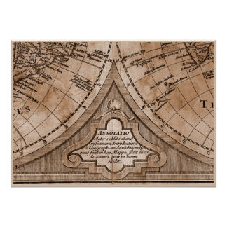9 Panel Sepia Version de L'Isle World Map Frame 8 Poster
