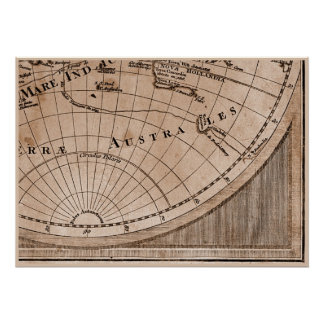 9 Panel Sepia Version de L'Isle World Map Frame 9 Poster