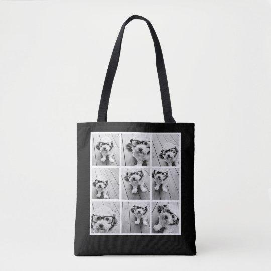 9 Photo Collage Custom Monogram Change Back Colour Tote Bag