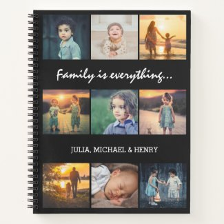 9 Photo Collage Custom Text Family is Everything Notebook
