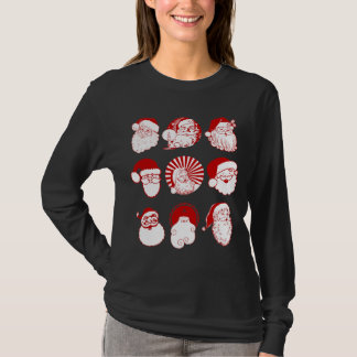 9 Santas - Women's Black Long Sleeve T-shirt