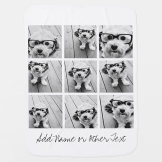 9 Square Photo Collage - Black and White Baby Blanket