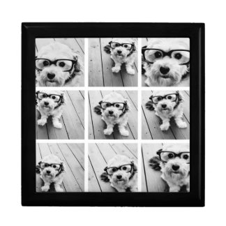 9 Square Photo Collage - Black and White Gift Box