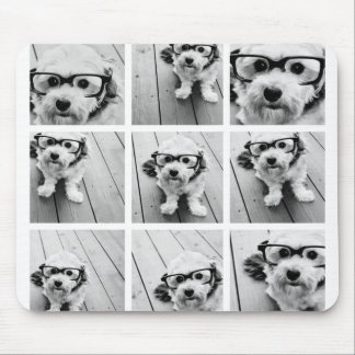 9 Square Photo Collage - Black and White Mouse Mat