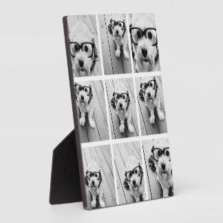 9 Square Photo Collage - Black and White Plaque