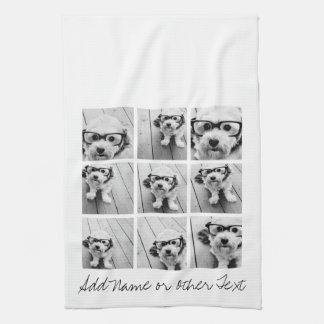 9 Square Photo Collage - Black and White Tea Towel