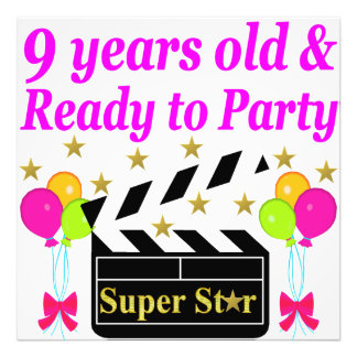9 YEARS OLD AND READY TO PARTY MOVIE STAR DESIGN PHOTOGRAPH