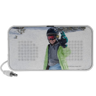 9 years old girl snowboarding mini speakers