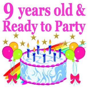 9 YRS OLD AND READY TO PARTY BIRTHDAY CAKE DESIGN CARD