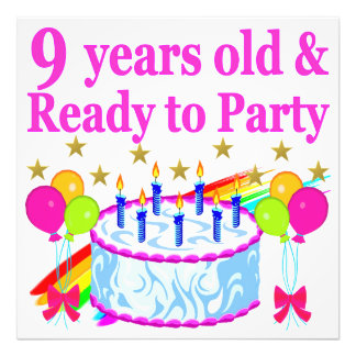 9 YRS OLD AND READY TO PARTY BIRTHDAY CAKE DESIGN PHOTO ART