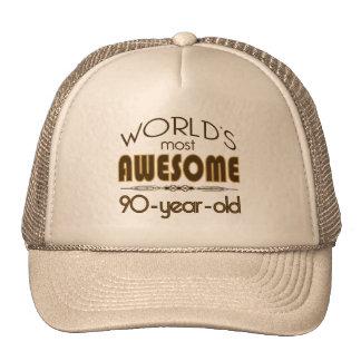 9oth Birthday Celebration World's Best in Brown Trucker Hats