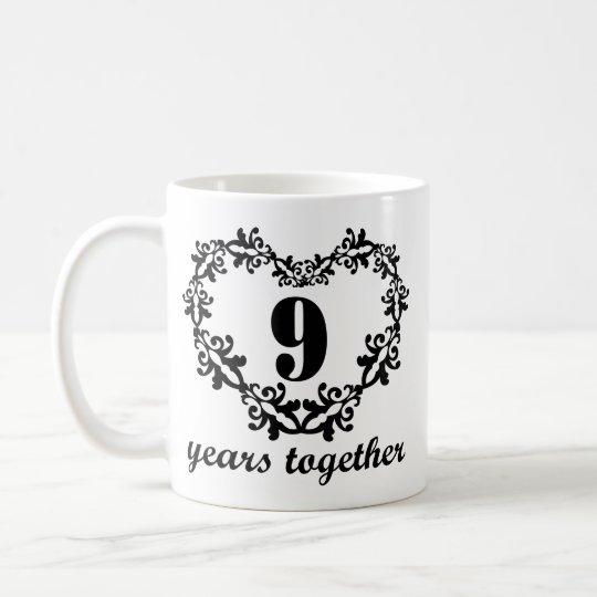 9th Anniversary 9 Years Together Heart Gift Mug