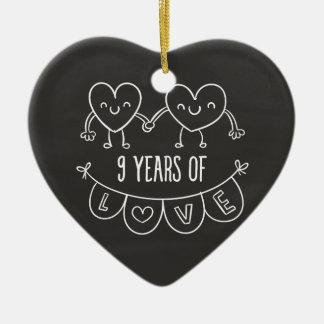 9th Anniversary Gift Chalk Hearts Ceramic Heart Decoration