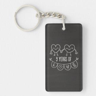 9th Anniversary Gift Chalk Hearts Double-Sided Rectangular Acrylic Key Ring