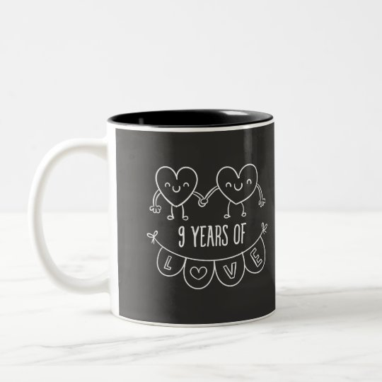 9th Anniversary Gift Chalk Hearts Two-Tone Coffee Mug