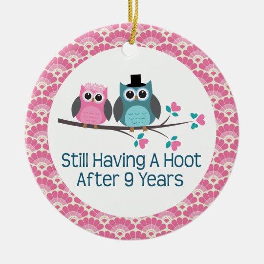 9th Anniversary Owl Wedding Anniversaries Gift Christmas Ornament