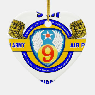"9TH ARMY AIR FORCE ""ARMY AIR CORPS"" WW II Double-Sided HEART CERAMIC CHRISTMAS ORNAMENT"