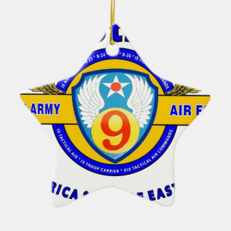 "9TH ARMY AIR FORCE ""ARMY AIR CORPS"" WW II Double-Sided STAR CERAMIC CHRISTMAS ORNAMENT"