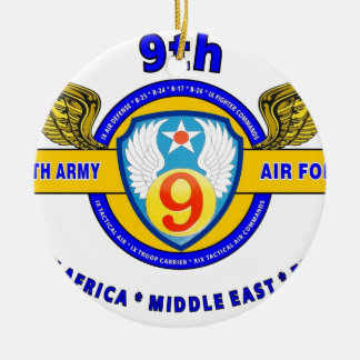 "9TH ARMY AIR FORCE ""ARMY AIR CORPS"" WW II Double-Sided CERAMIC ROUND CHRISTMAS ORNAMENT"
