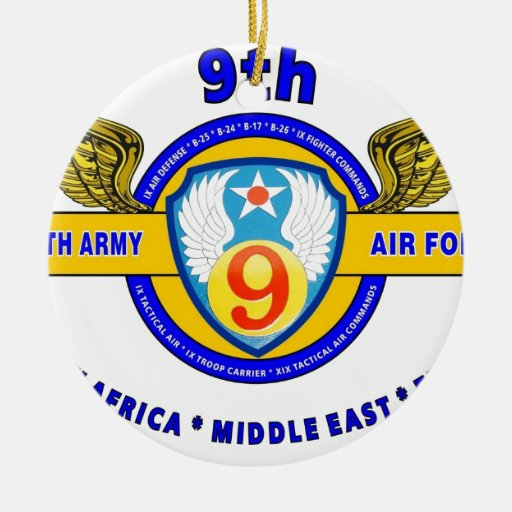 """9TH ARMY AIR FORCE """"ARMY AIR CORPS"""" WW II CHRISTMAS TREE ORNAMENTS"""