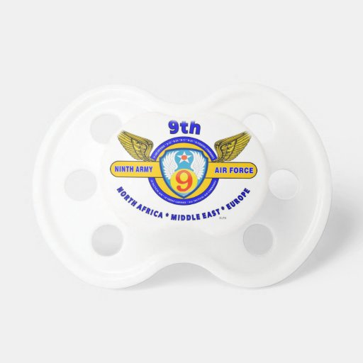 """9TH ARMY AIR FORCE """"ARMY AIR CORPS"""" WW II BABY PACIFIERS"""
