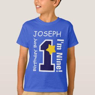 9th Birthday Boy BLUE One Year Custom Name A09 T-Shirt