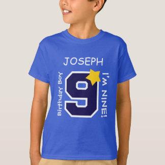 9th Birthday Boy BLUE One Year Custom Name A09A T-Shirt