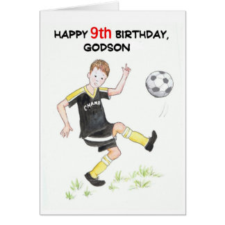 9th Birthday Card for a Godson - Footballer
