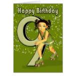 9th Birthday Card - Little Girl Skating