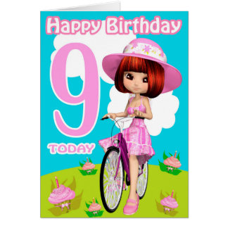 9th Birthday Card Pretty Little Girl On A Bicycle