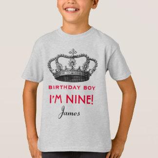 9th Birthday Custom Name Crown Gift Idea T-Shirt