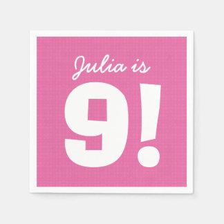 9th Birthday Custom Name Pink White for GIRL B9Z Disposable Serviette