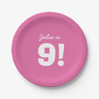9th Birthday Custom Name Pink White for GIRL B9Z 7 Inch Paper Plate