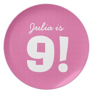 9th Birthday Custom Name Pink White for GIRL B9Z Plates